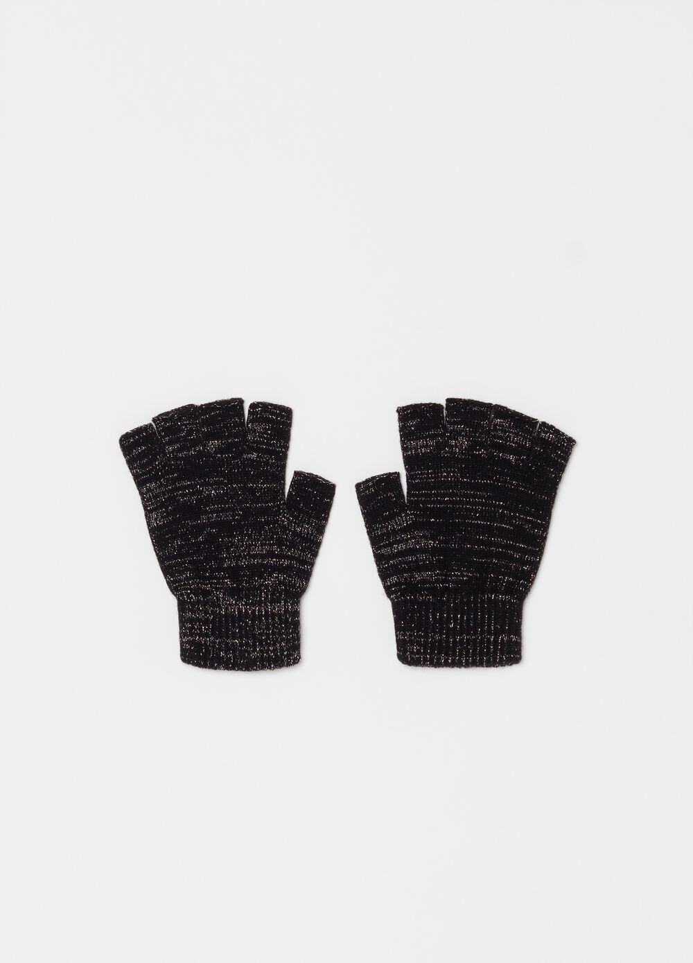 Fingerless gloves with lurex effect