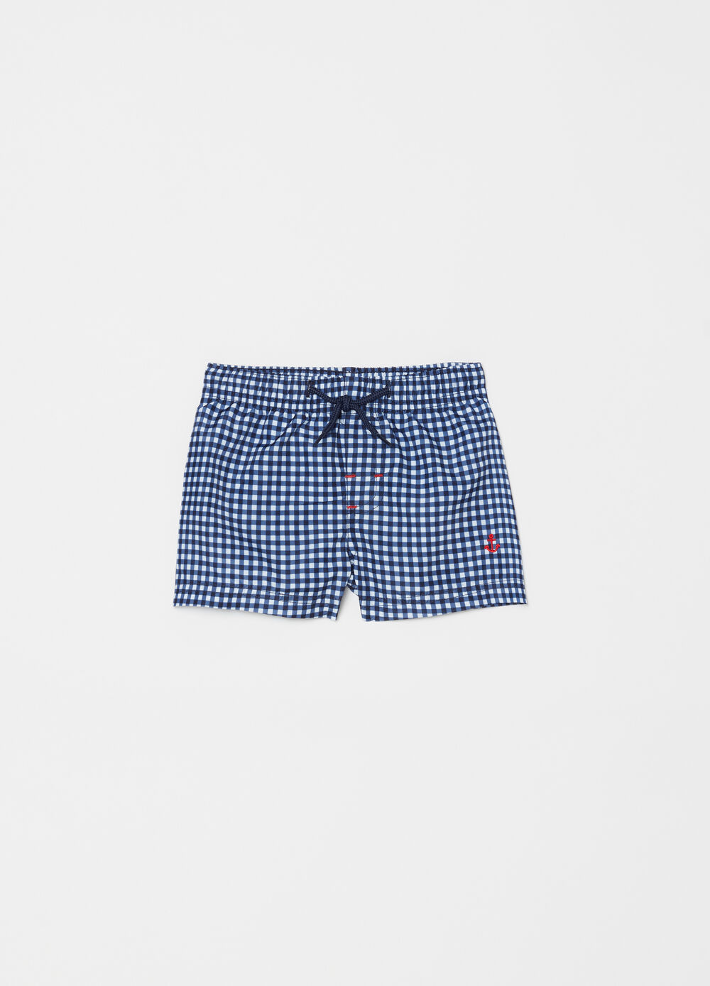 Check swim boxer shorts with embroidery and drawstring