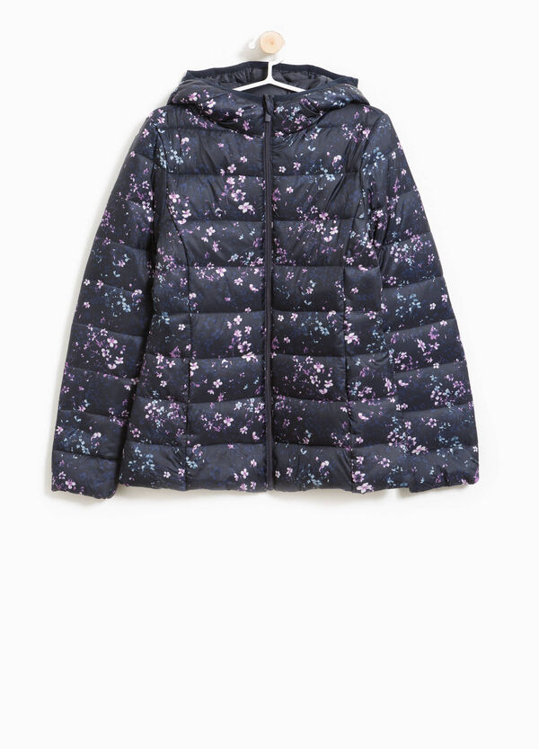 Floral down jacket with large hood. | OVS