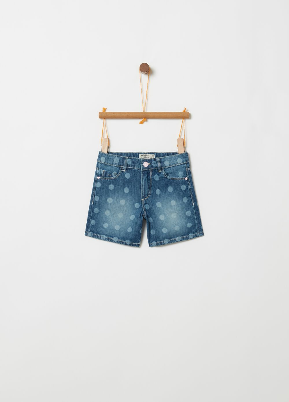 Shorts in denim fantasia a pois
