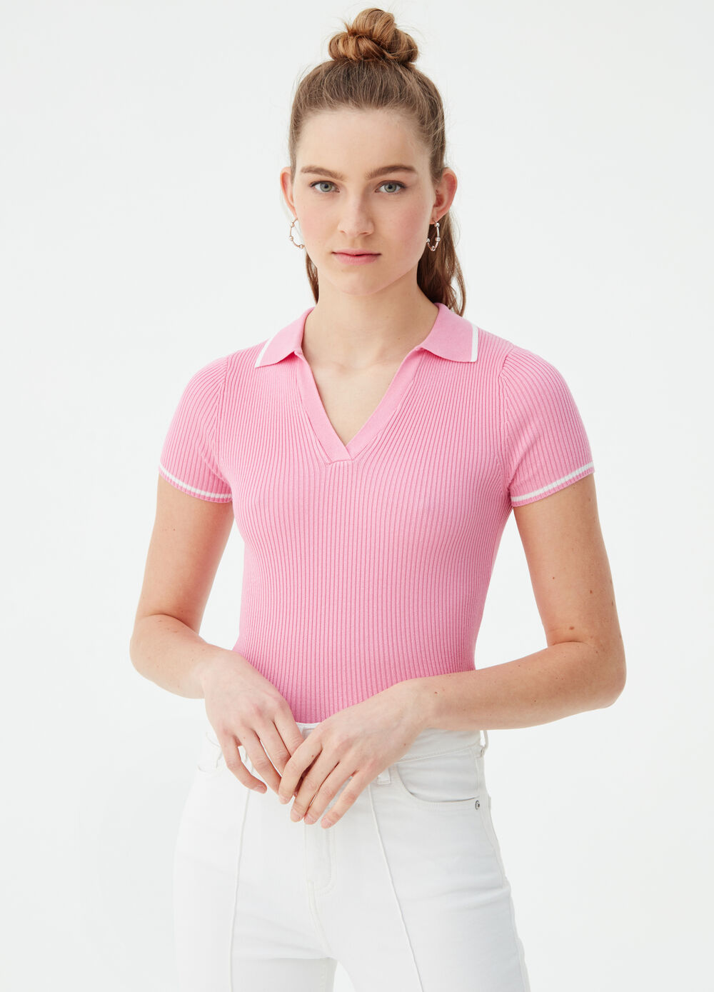 Micro polo shirt with striped weave and insert