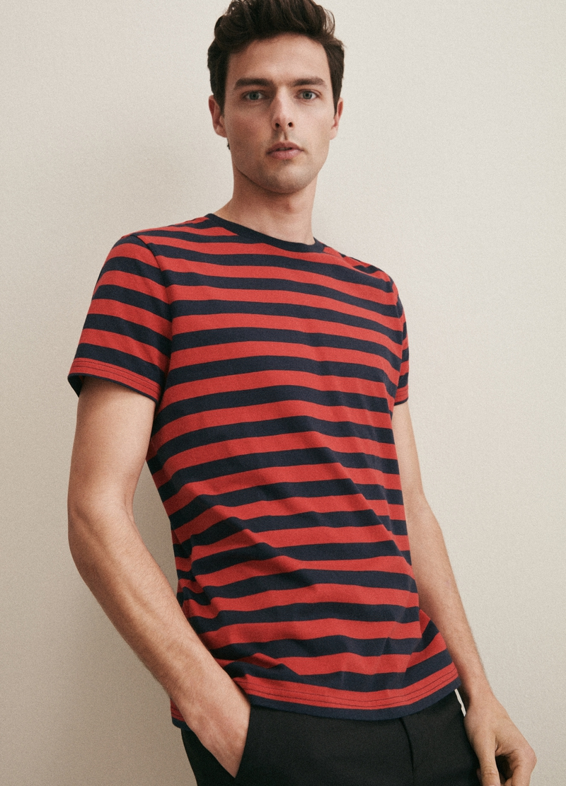 PIOMBO T-shirt puro cotone a righe image number null