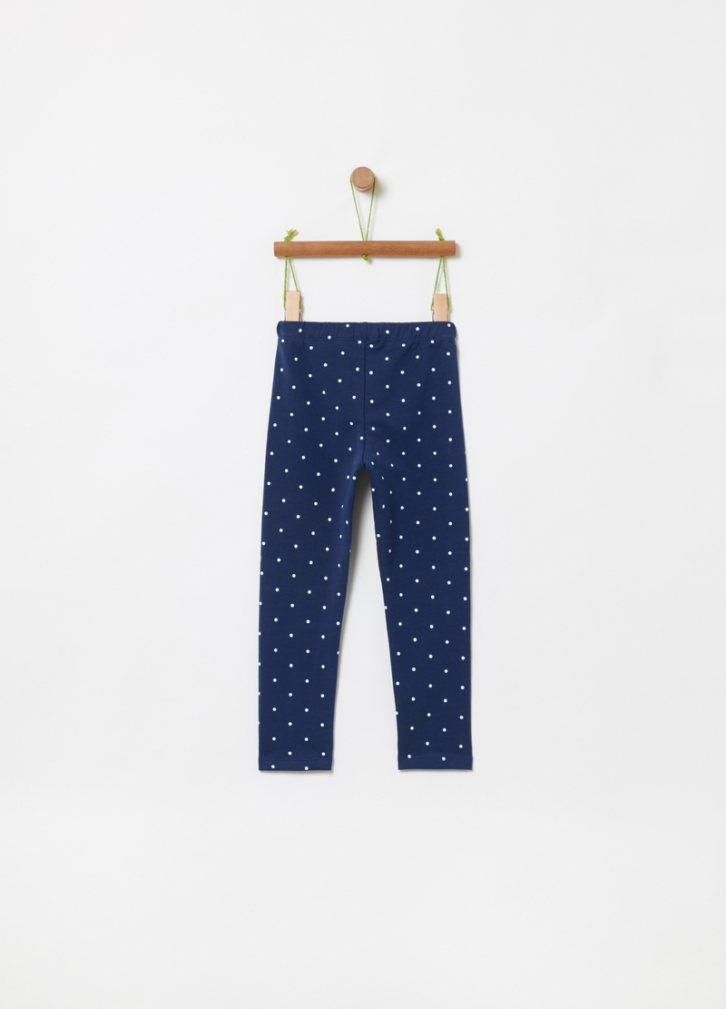 Leggings cotone stretch a pois image number null