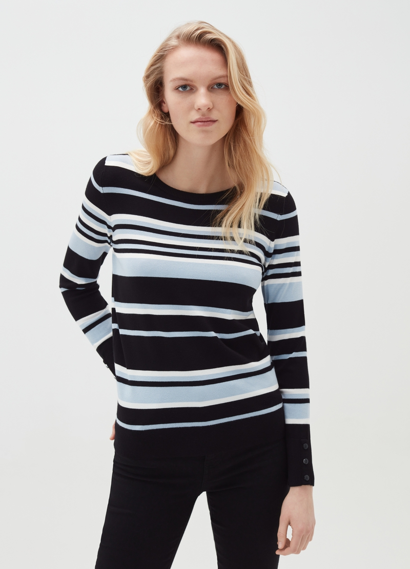 Pullover a righe con bottoni ai polsi image number null