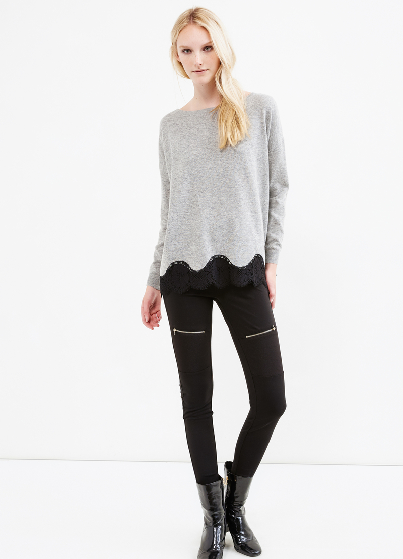 Pullover misto lana con pizzo image number null