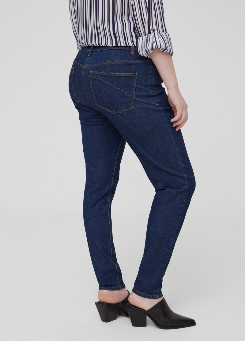 Curvy solid colour stretch jeans image number null