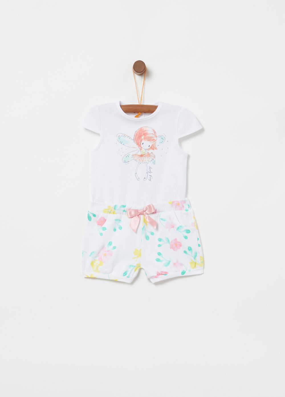 Organic cotton stretch onesie with bow