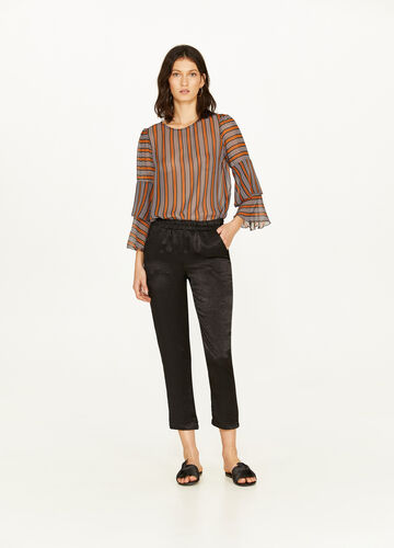 Crop satin trousers with braided waist band