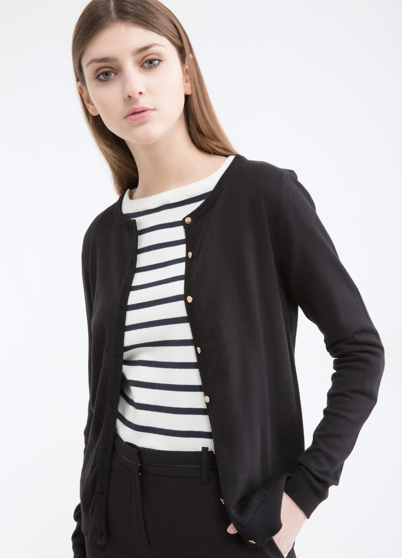 Solid colour cotton blend cardigan image number null