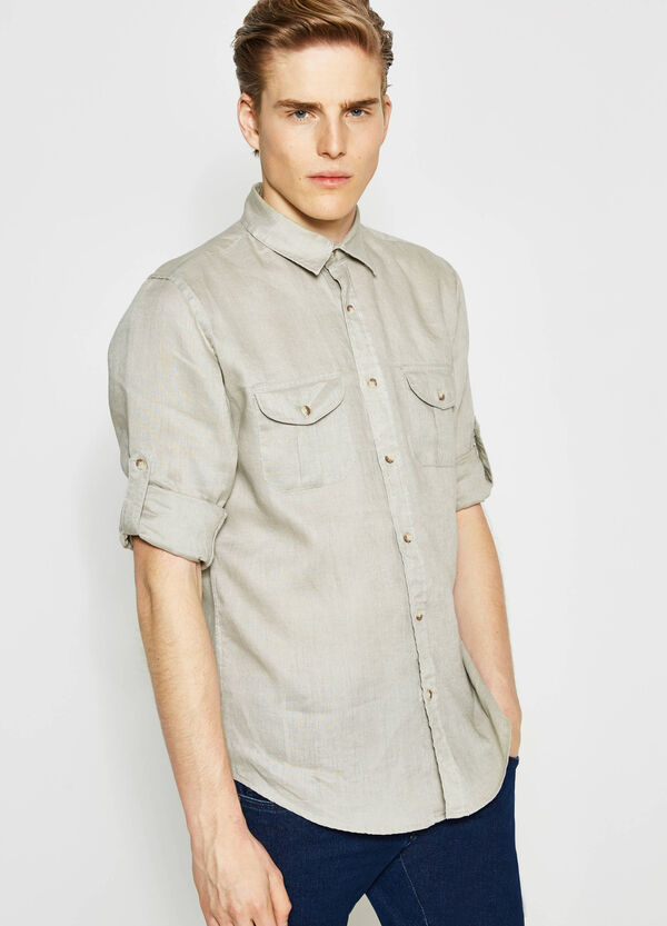 Casual linen shirt with pocket | OVS
