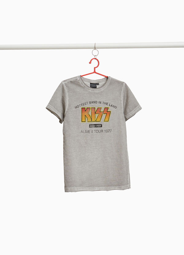 KISS T-shirt with washed-effect and raw edging