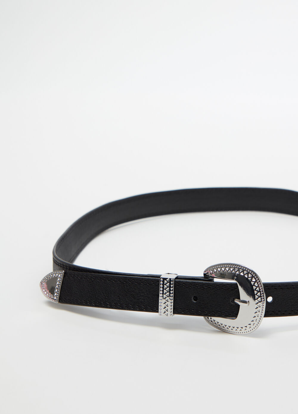 Western-style belt with silver buckle