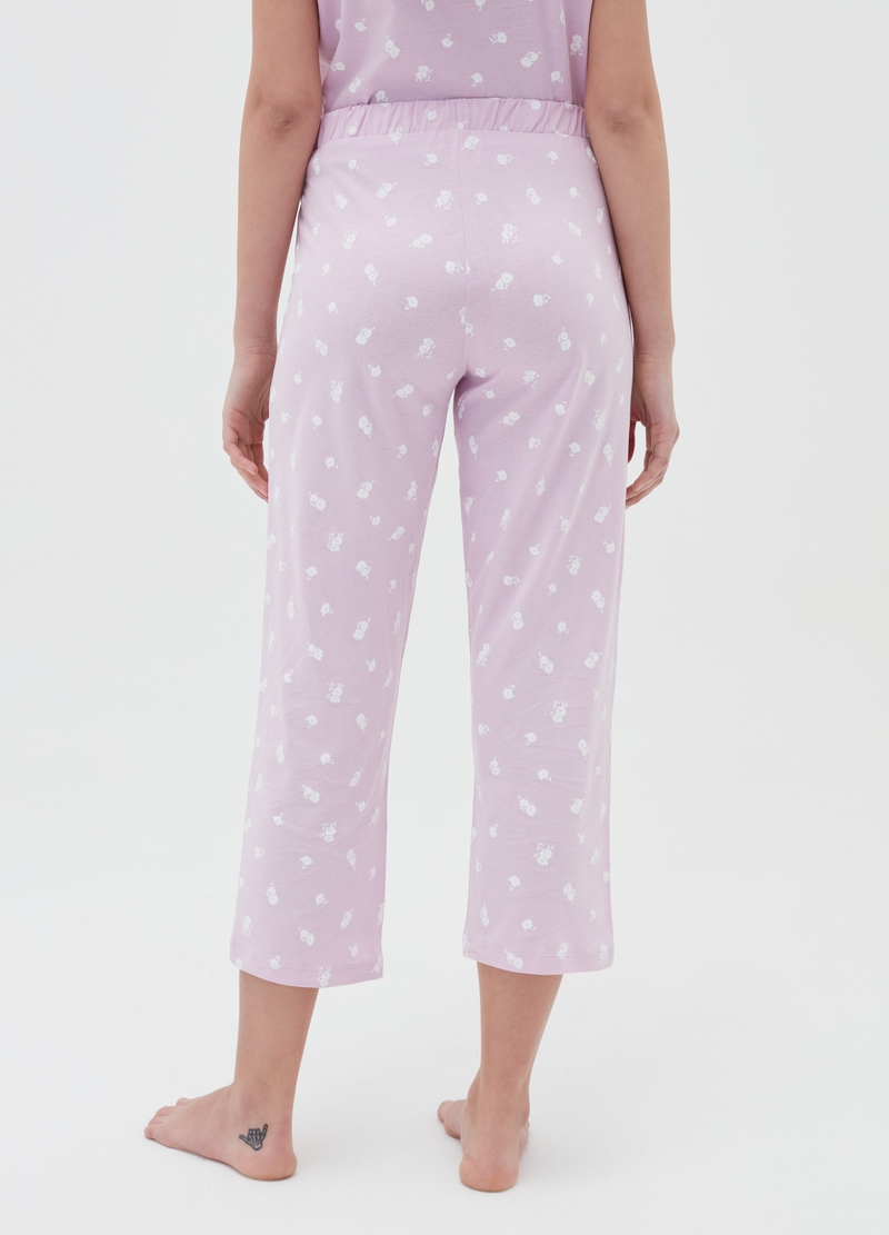Crop pyjama trousers in cotton with print image number null
