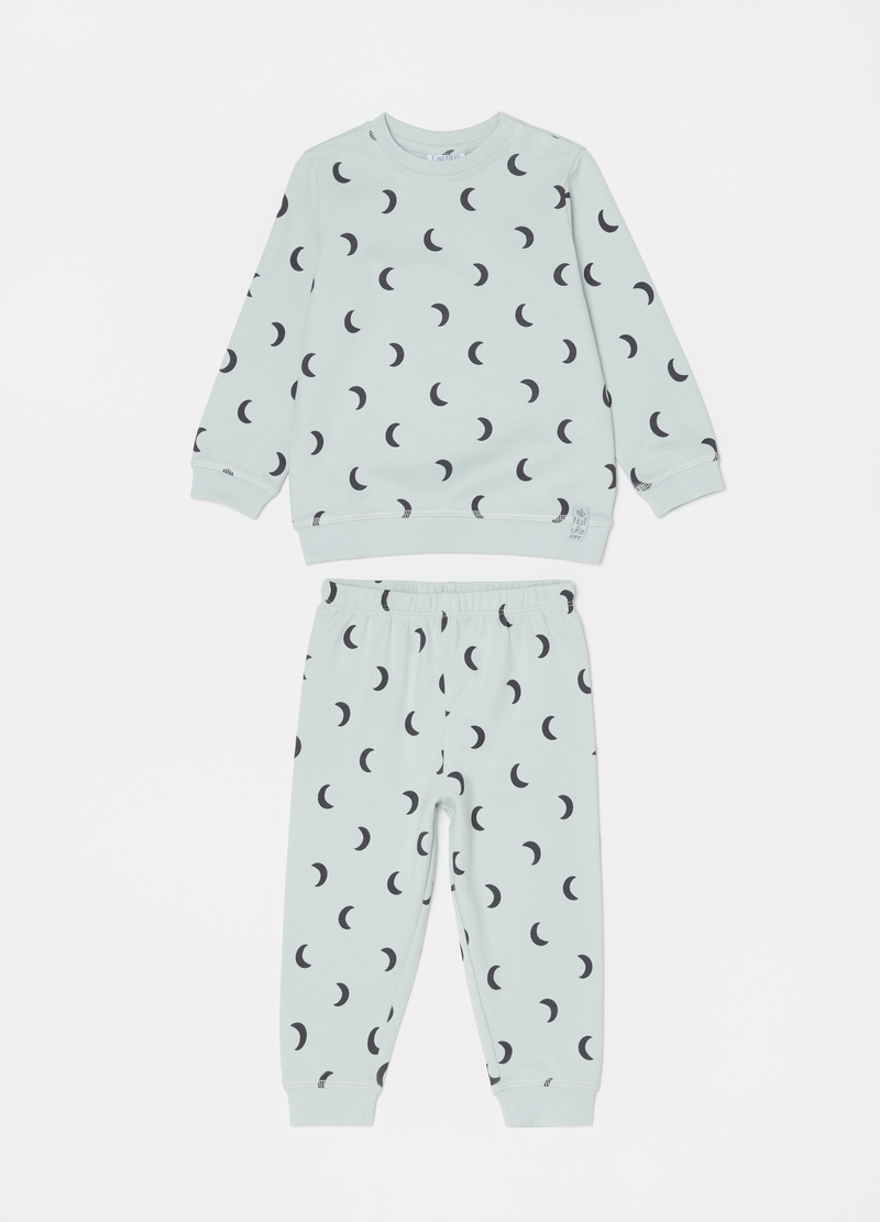 Long pyjamas in 100% cotton with moon pattern image number null