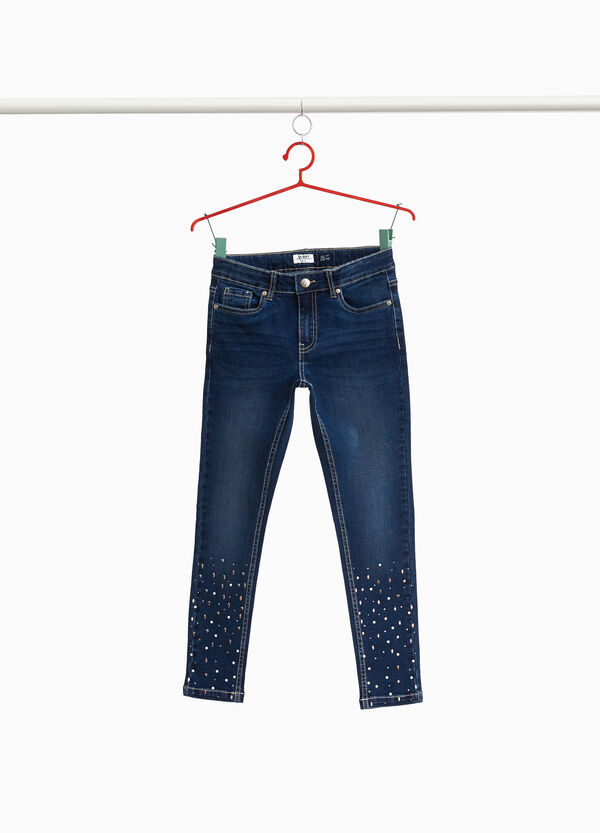 Stretch jeans with studs and beads