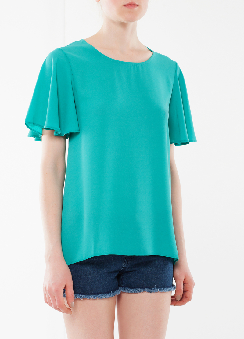 T-shirt with frill sleeves image number null