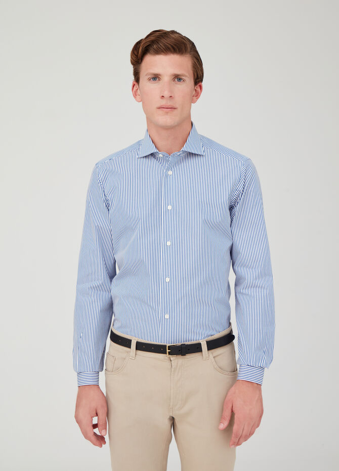 Slim-fit cotton shirt with double twine