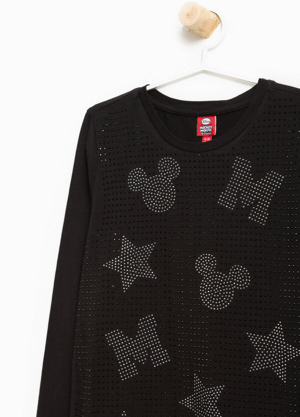 T-shirt stretch strass Mickey Mouse
