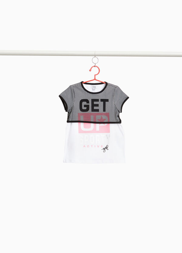 Stretch cotton T-shirt with mesh