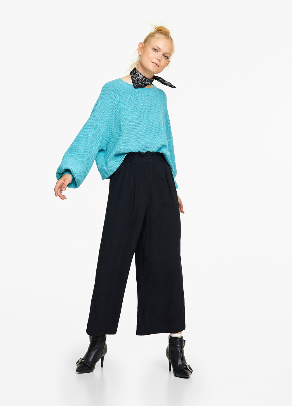 Cropped gaucho pants in viscose