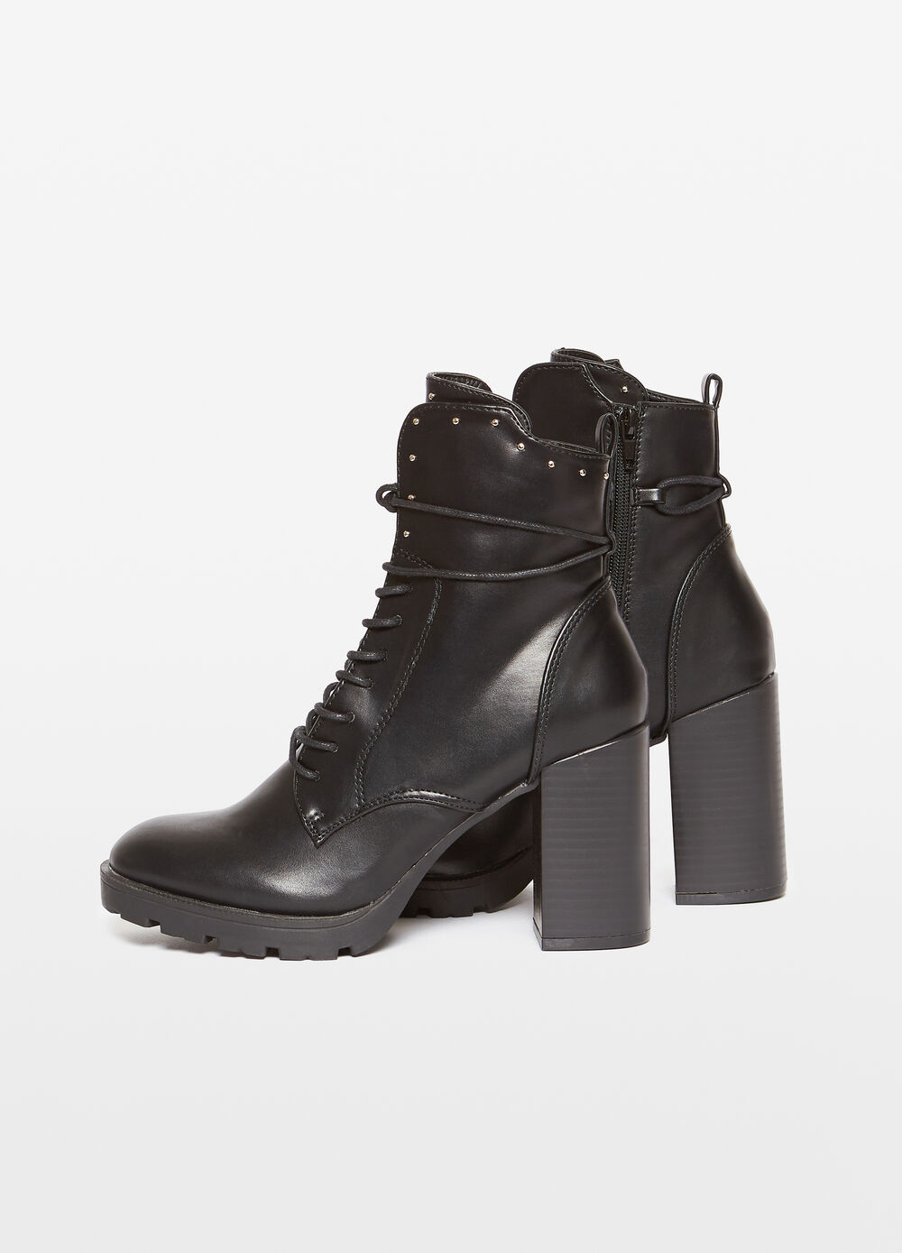 Solid colour ankle boots with chunky heel