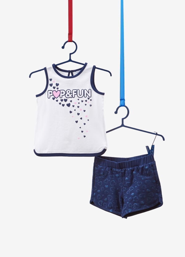 Stretch cotton outfit with glitter hearts