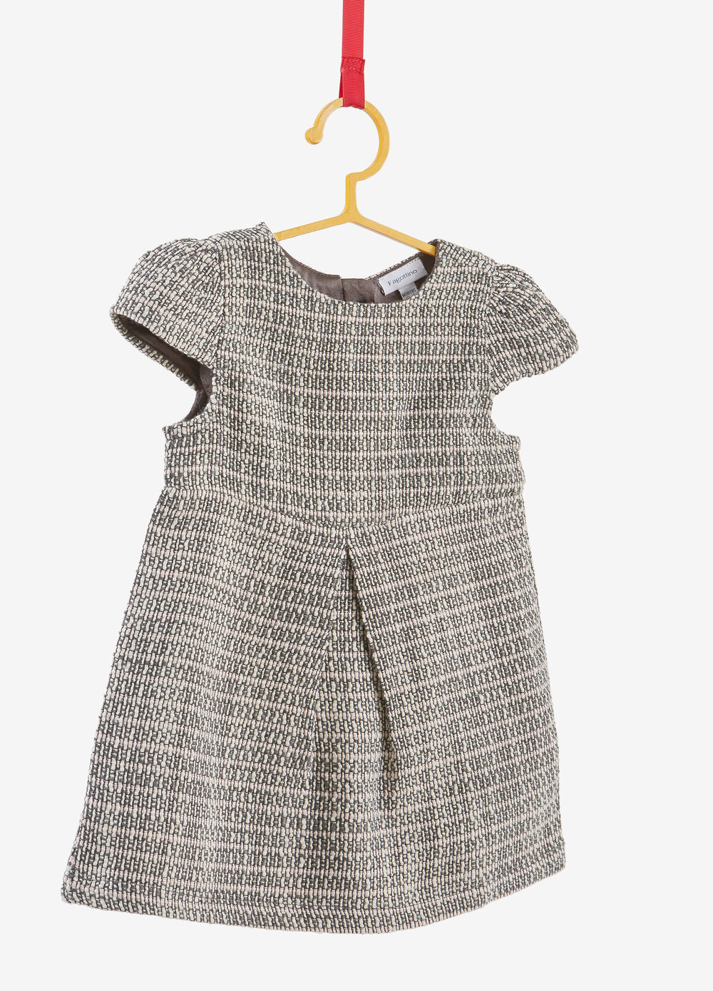 Dress in bouclé fabric with puff sleeves