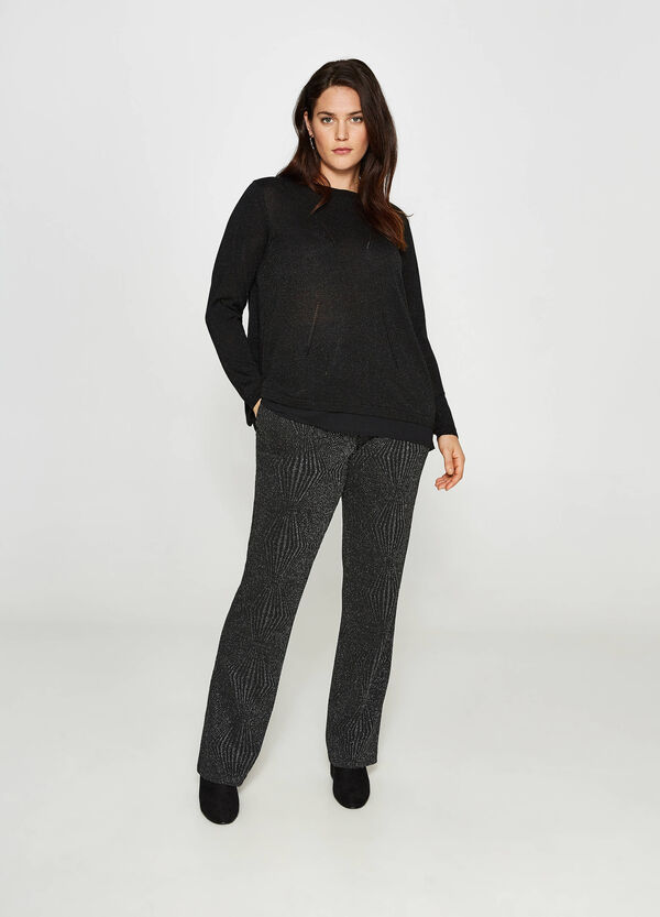 Curvy lurex and viscose blend pullover
