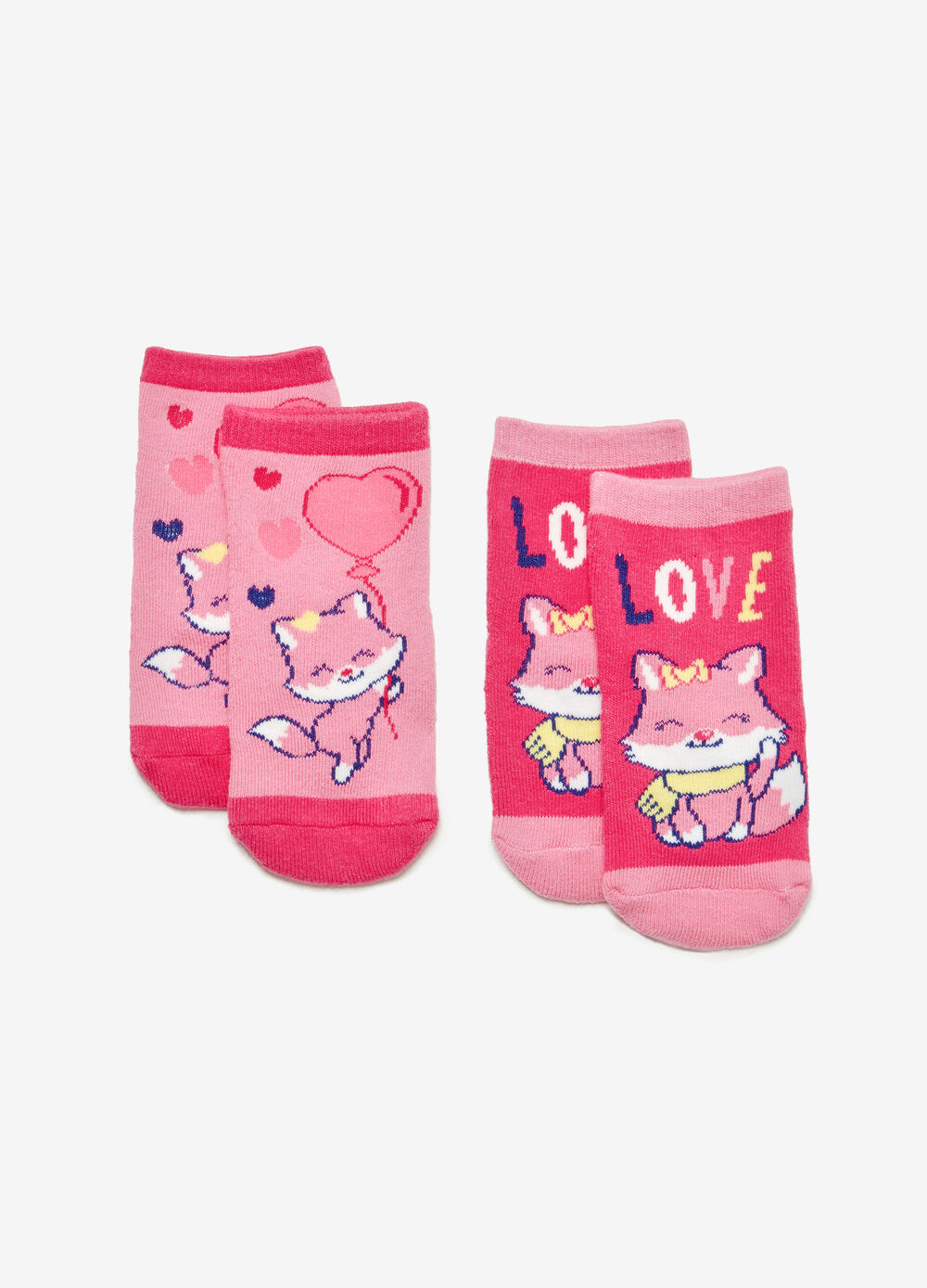 Two-pair pack fox slipper socks