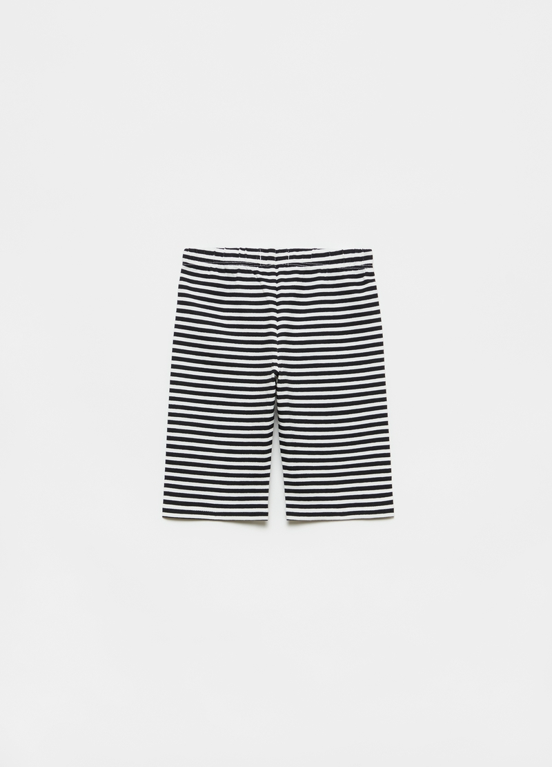 Striped stretch cotton short leggings image number null