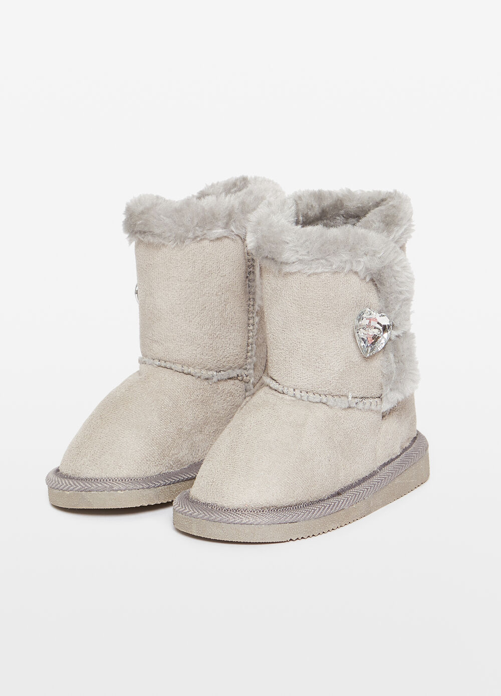 Faux fur ankle boots with diamantés