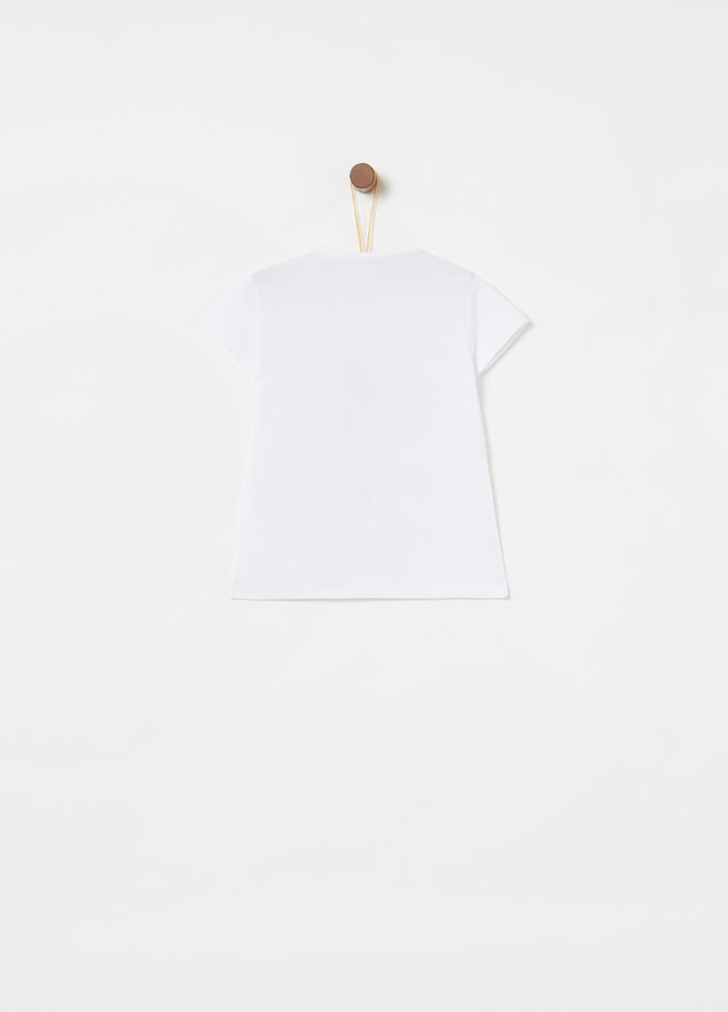 Stretch T-shirt with diamantés and print