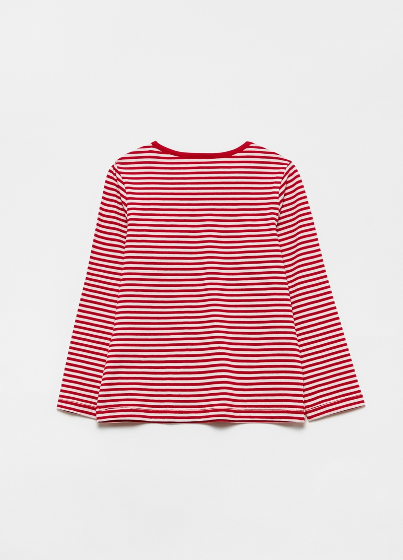 100% cotton T-shirt with striped heart image number null