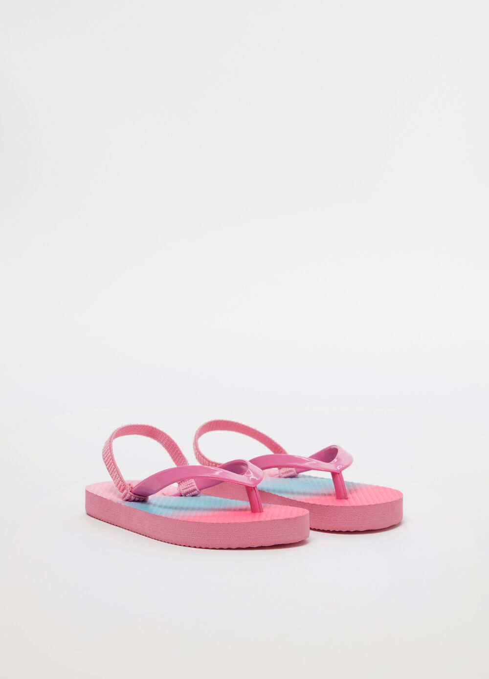 Thong sandals with degradé-effect laces