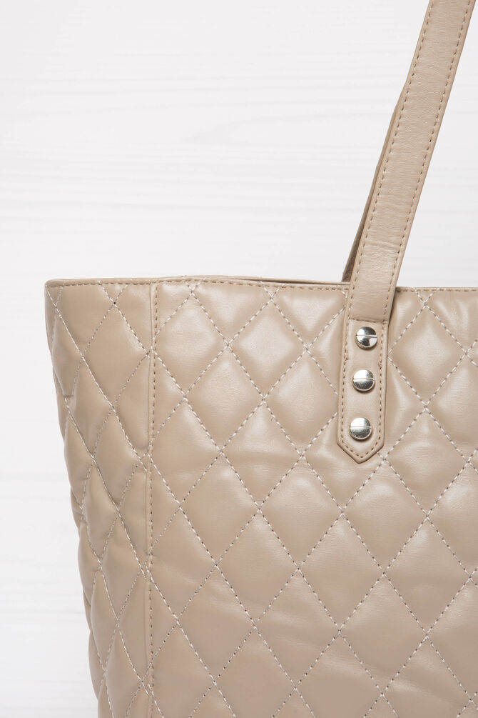 Quilted and studded shoulder bag
