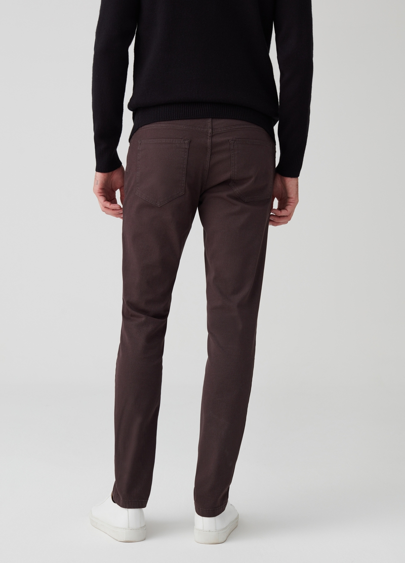 5-pocket slim fit trousers with print image number null