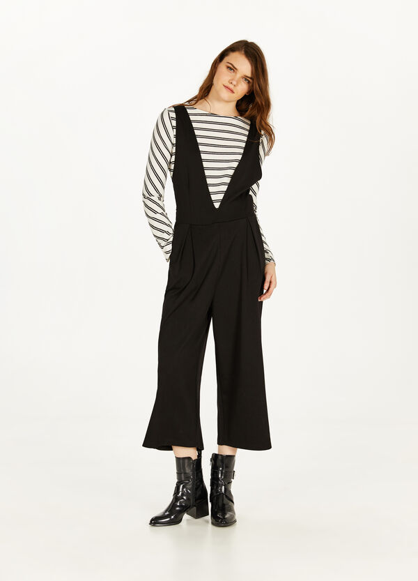 Stretch viscose blend dungarees