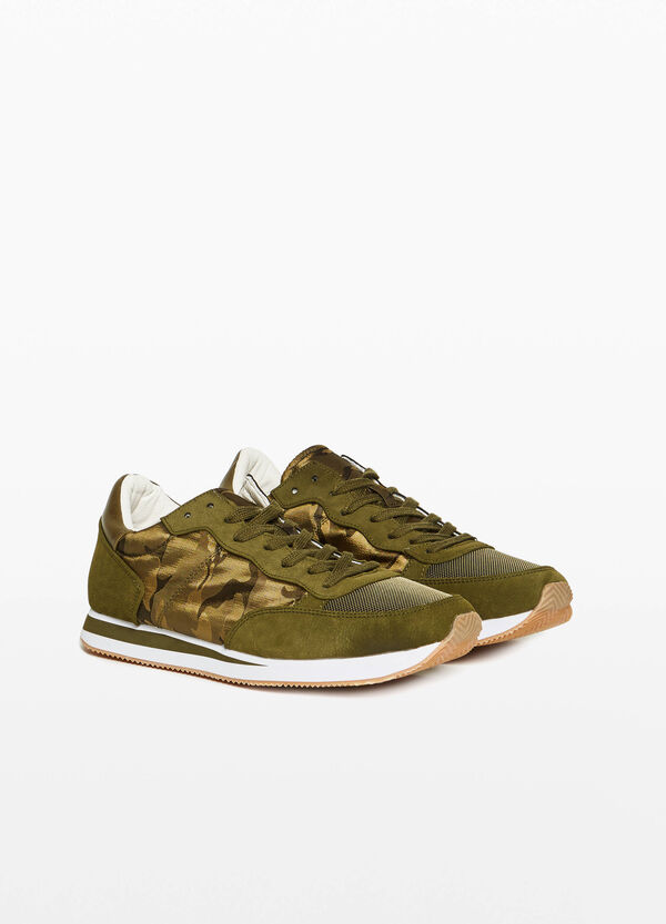 Camouflage sneakers with inserts