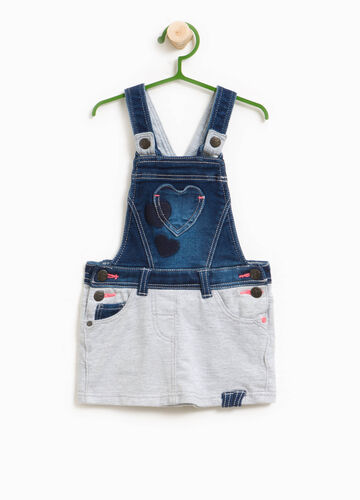 Salopette in jeans stretch taschino cuore
