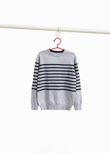 100% cotton pullover with central stripes