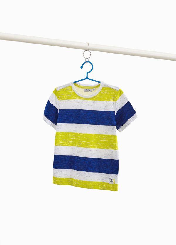 Cotton blend striped and patches T-shirt