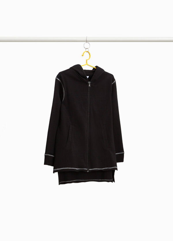 Long asymmetrical sweatshirt with seams