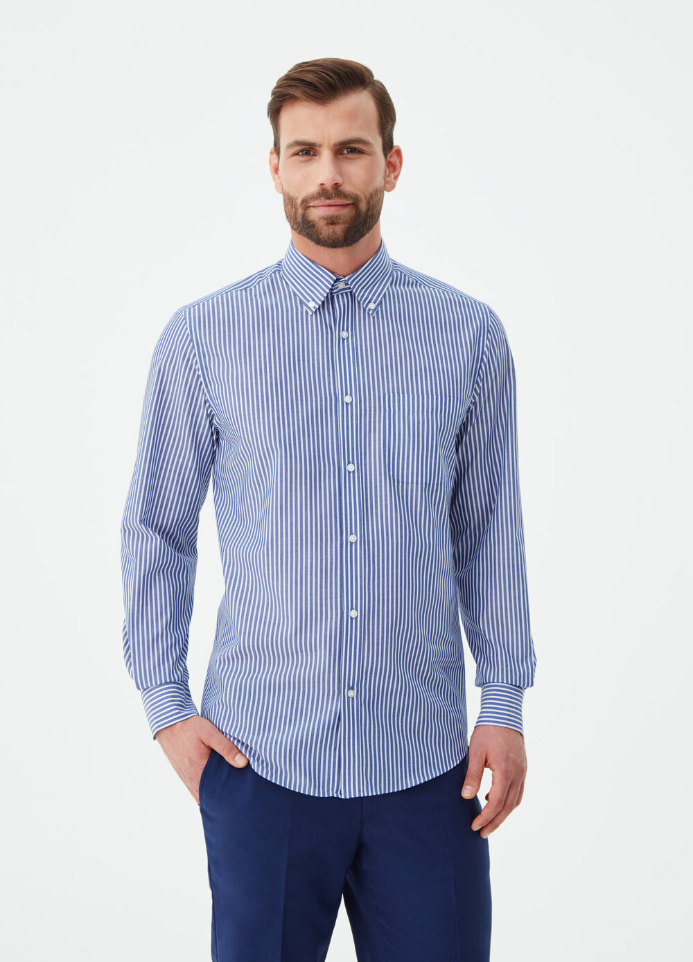 Camicia regular fit in popeline a righe