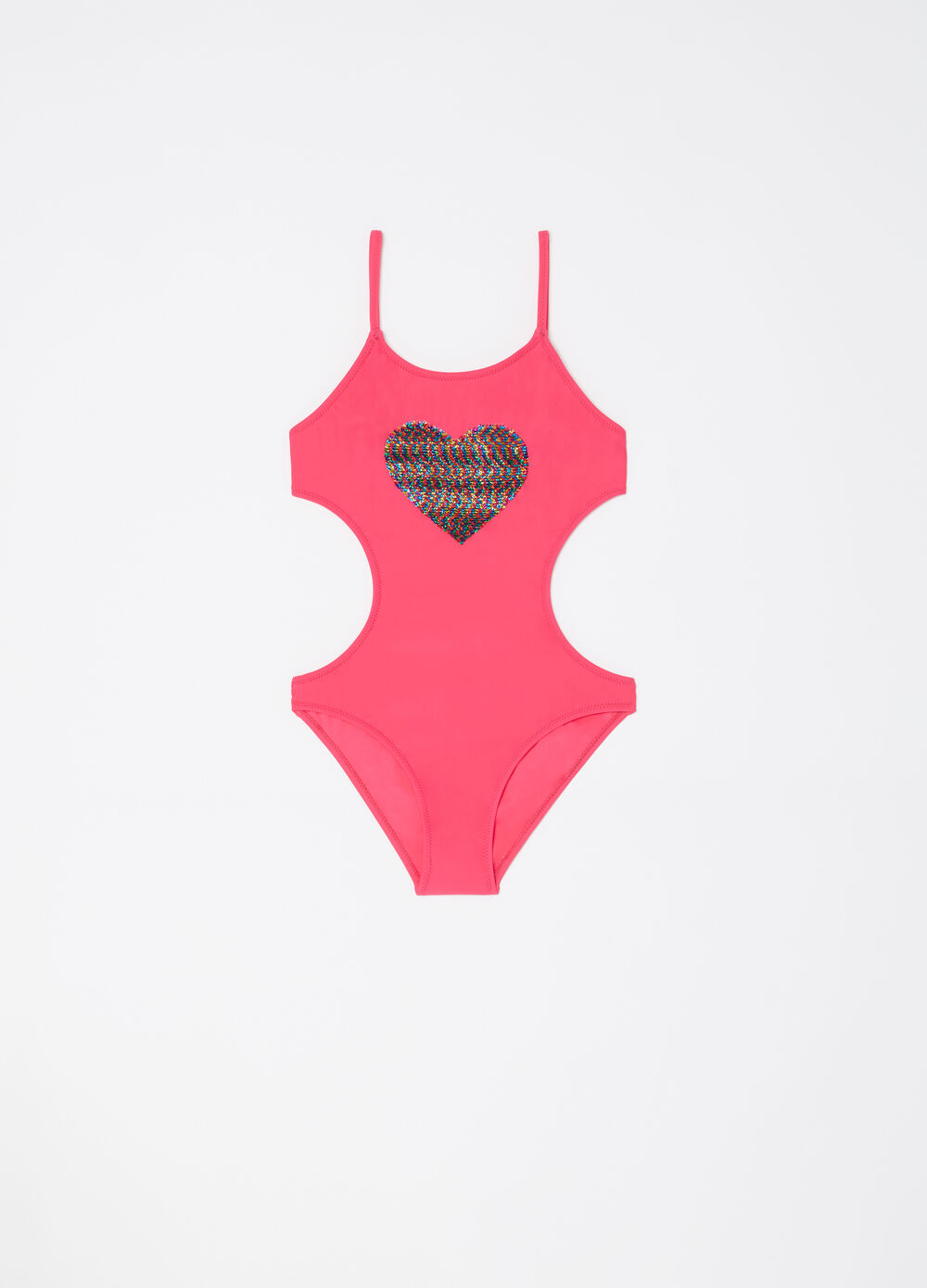 One-piece swimsuit with heart sequins
