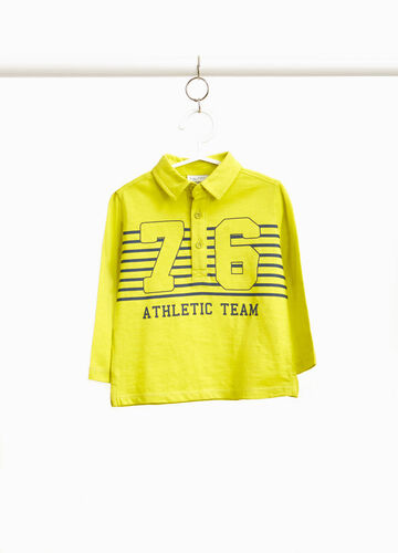 Polo shirt with striped lettering print