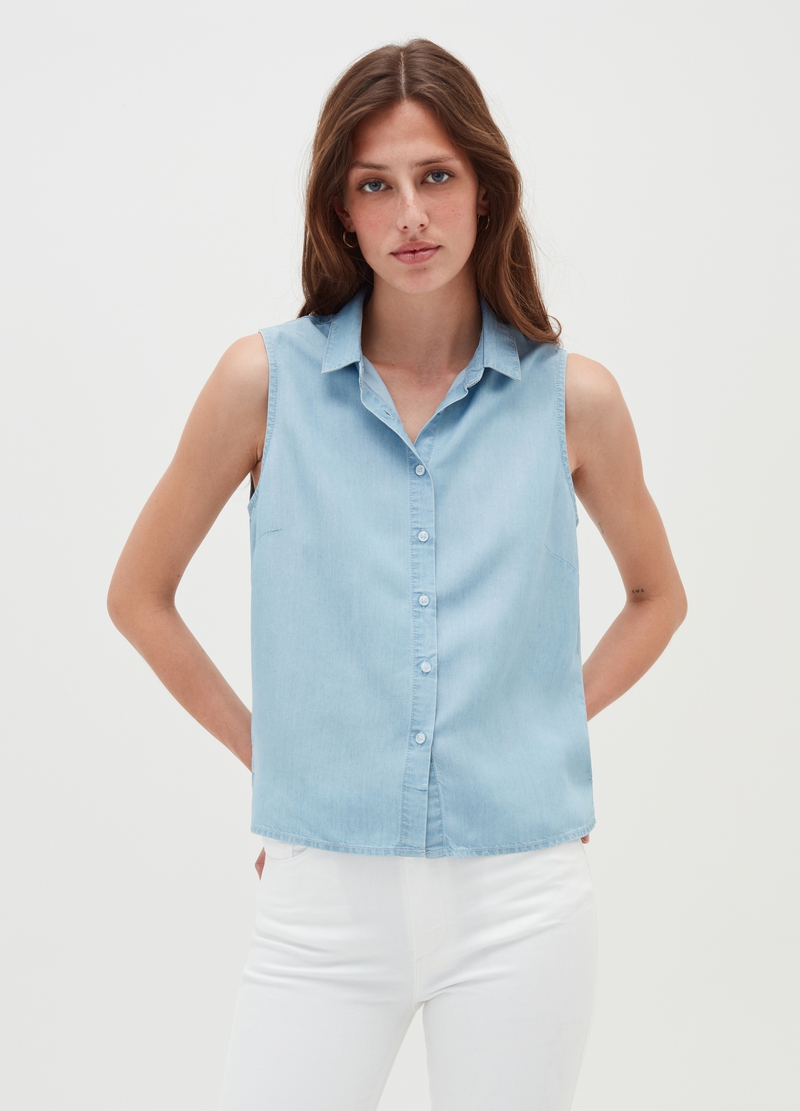 Sleeveless shirt in Lyocell image number null