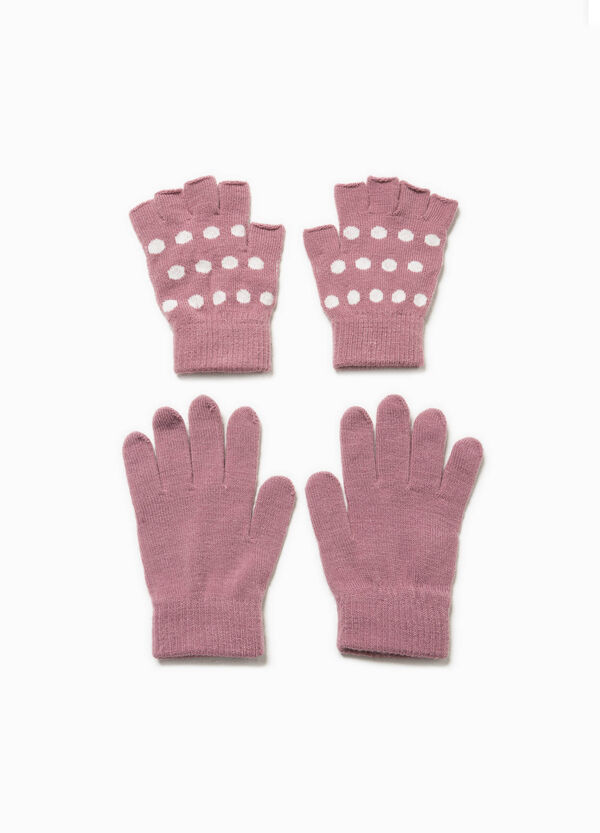 Two-pair pack solid colour and polka dot gloves