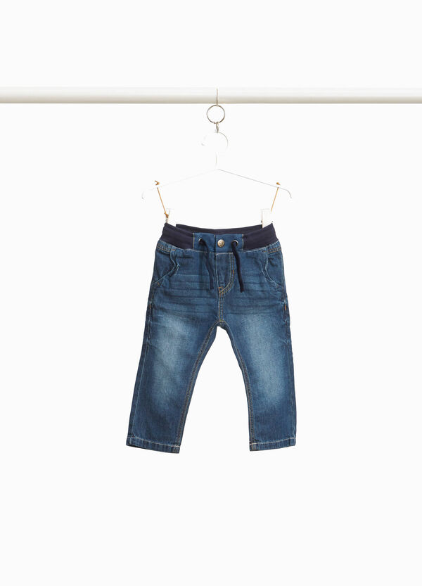 Jeans with drawstring and ribbing at the waist