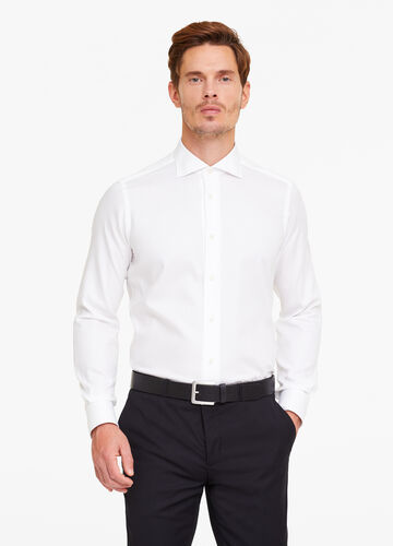 Slim-fit shirt with micro-check weave