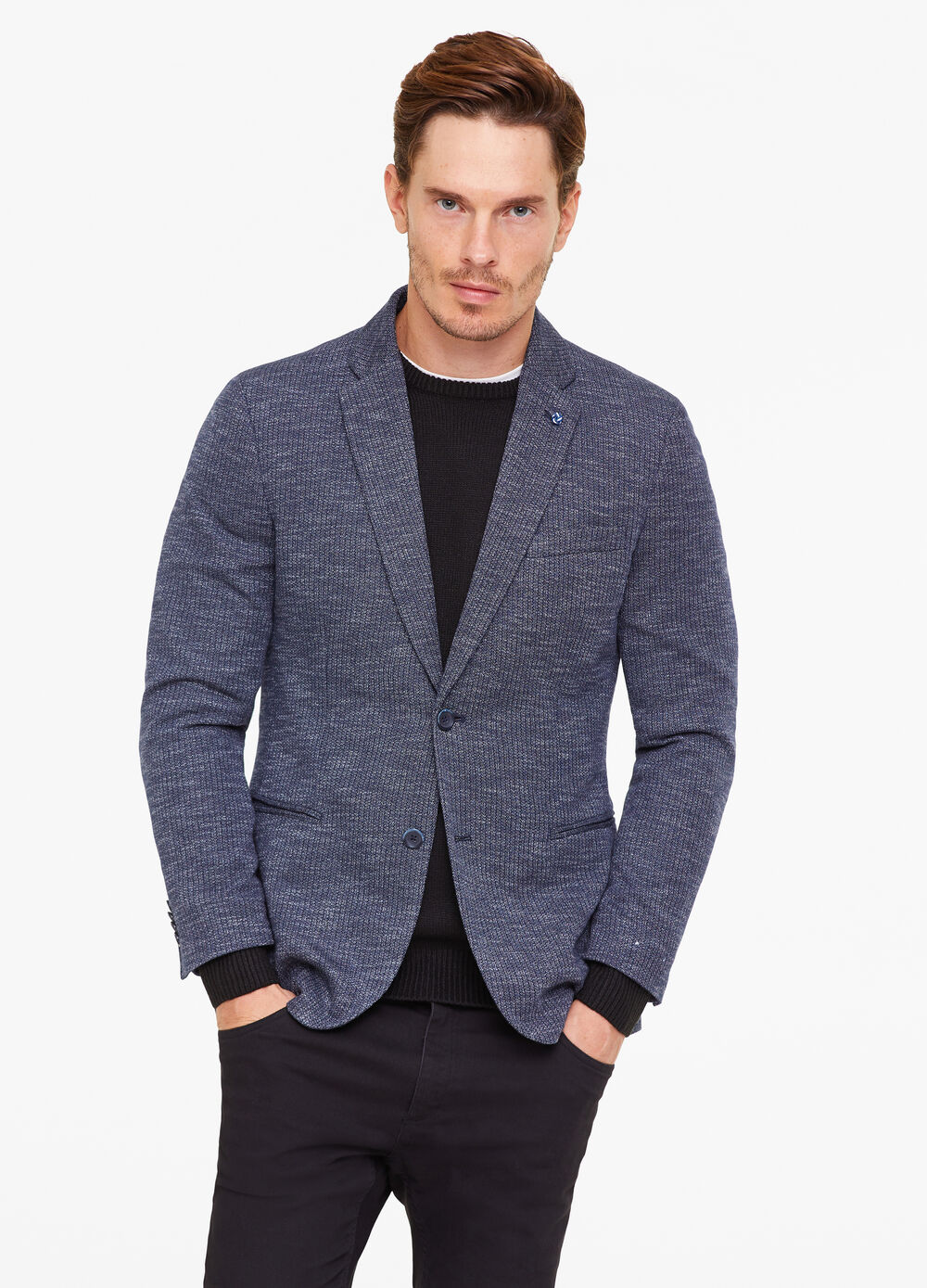 Mélange jacket with two-button fastening